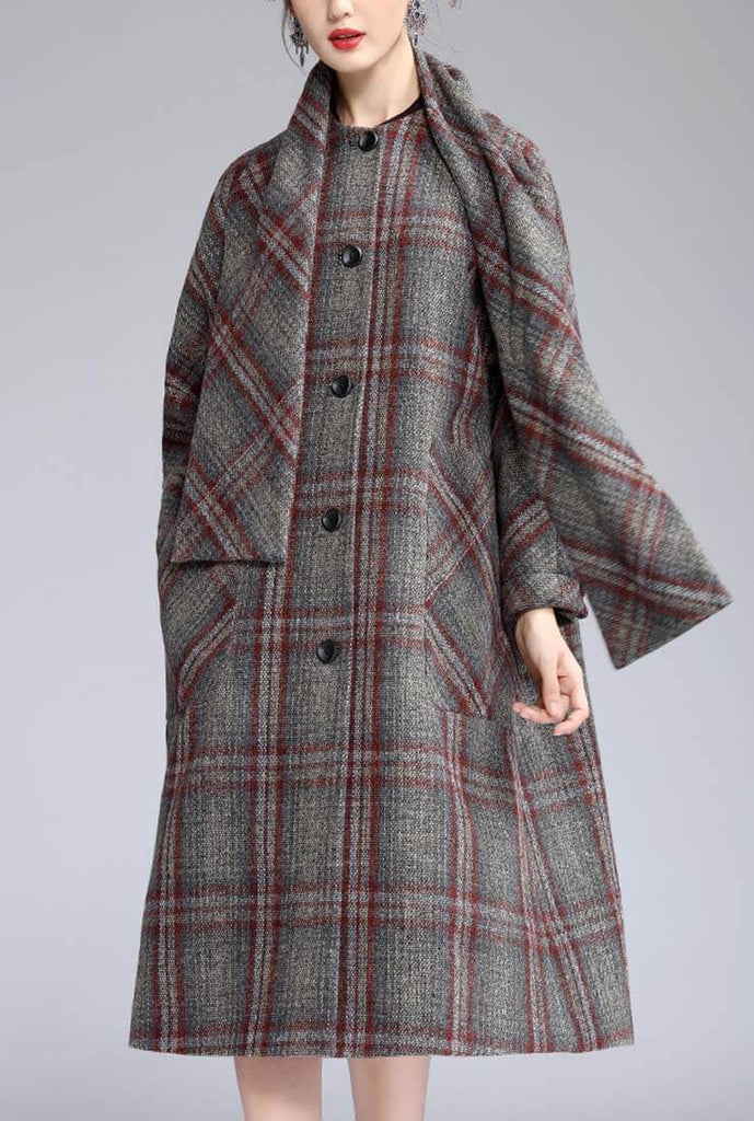 British Style A-line Removable Scarf Plaid Long Coat