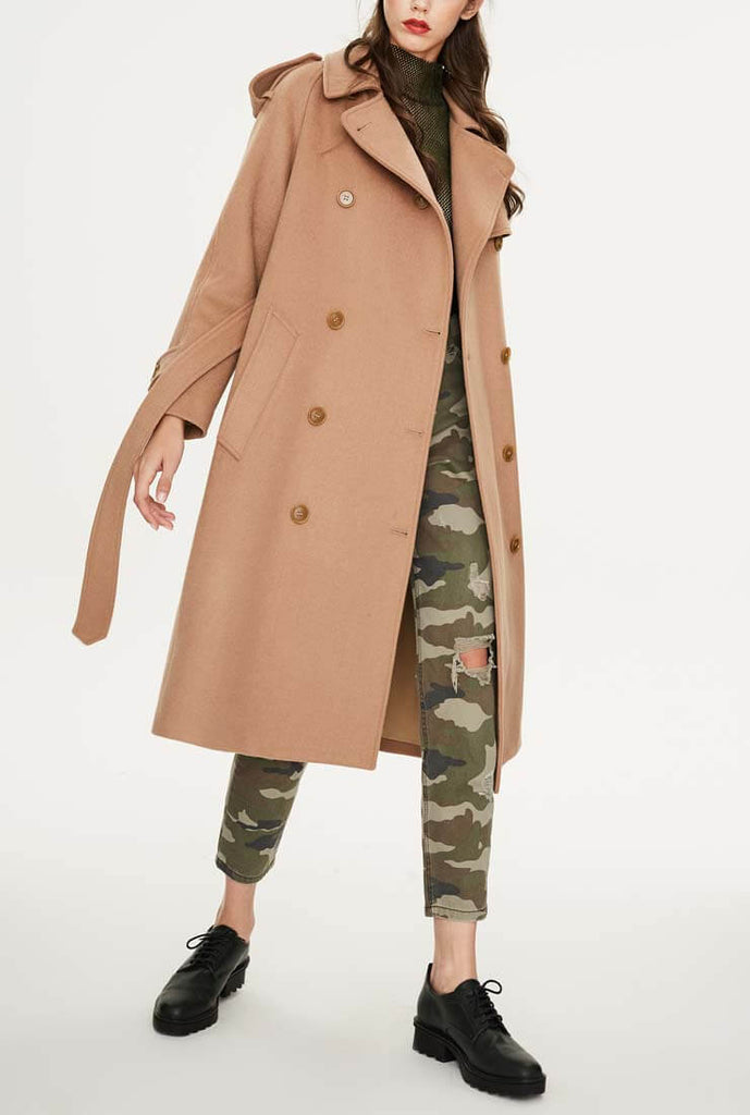 British Style Double-breasted Loose Wool Coat