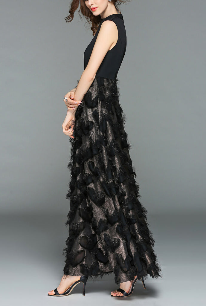 Bronzing Fringed Feather Star Formal Maxi Dress