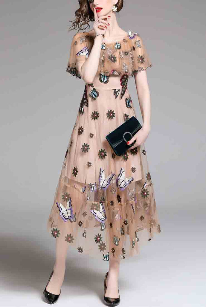 Butterfly Embroidered Mesh Maxi Dress