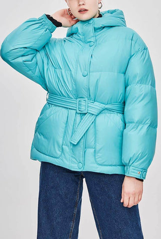 Candy Color Warm Loose Hooded Down Jacket