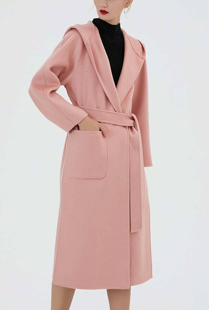 Cashmere Double-faced  Hooded Wool Wrap Coat