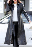 Casual Leather Mid-length Trench Coat