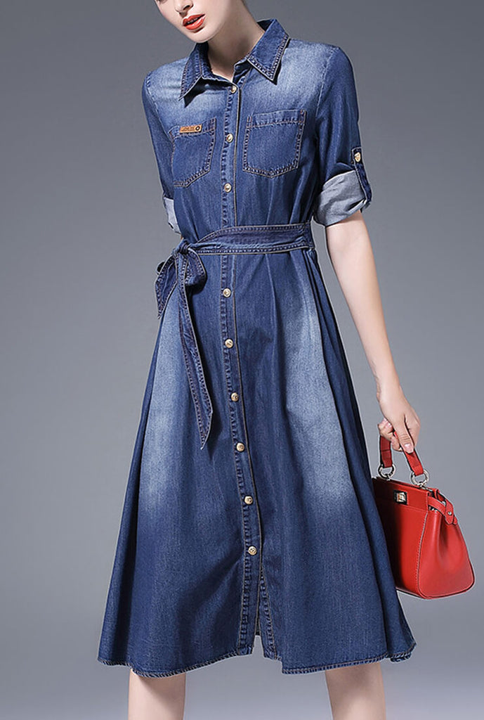 Casual Midi Denim Shirt Dress
