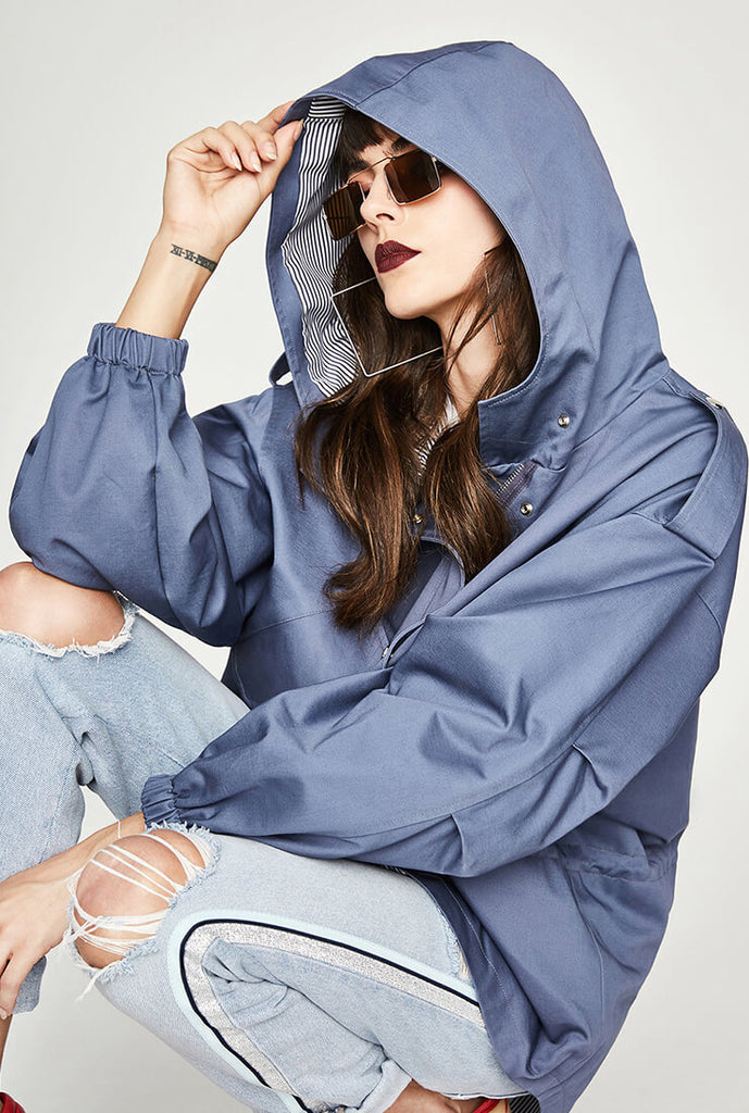 Casual Short Hooded Trench Coat