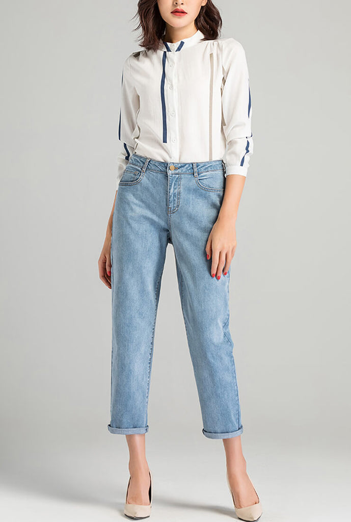 Casual Slim Cropped Straight Jeans
