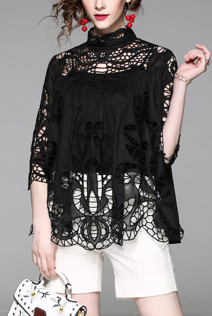 Casual Stand Collar Openwork Blouse&Camisole