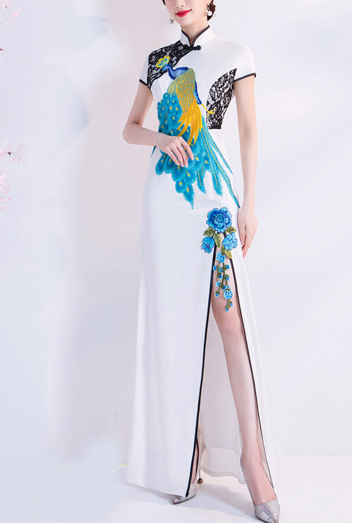 Cheongsam Style Floral Embroidered Formal Prom Dress