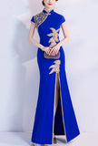 Cheongsam Style Embroidered Maxi Prom Formal Dress