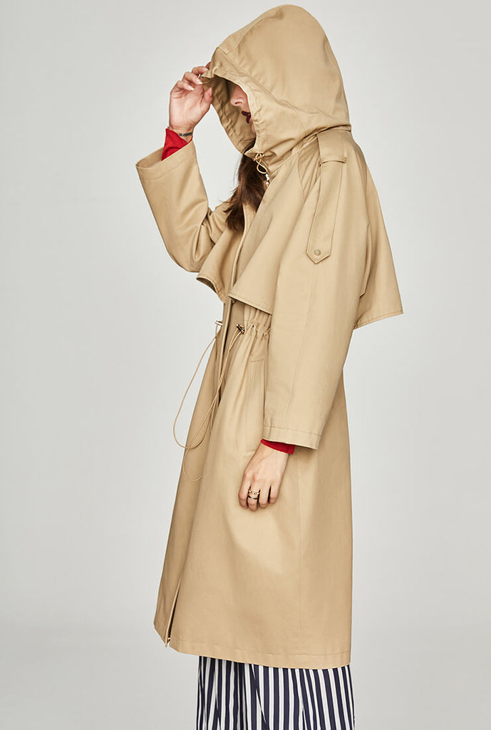 Chic Classic Hooded Long Trench Coat