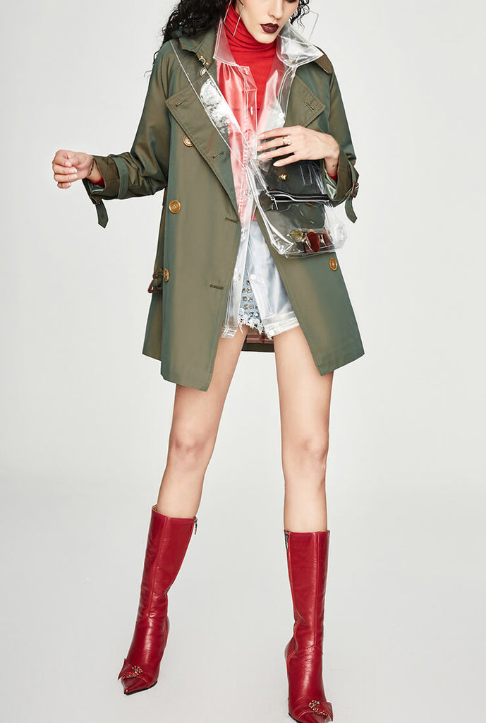 Chic Short Color Changing Trench Coat