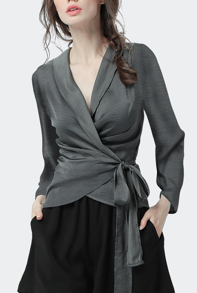Chiffon Long Sleeve V-neck Tie Waist Blouse