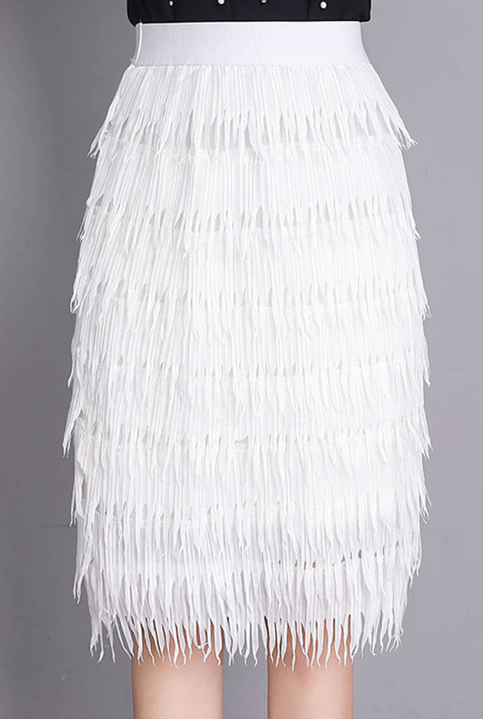 Chiffon Pleated Fringed Skirt