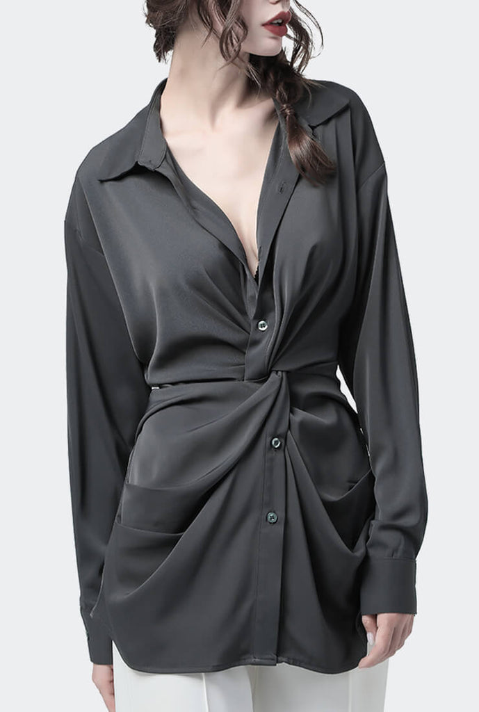 Gray Chiffon Waist V-neck Slim Shirt