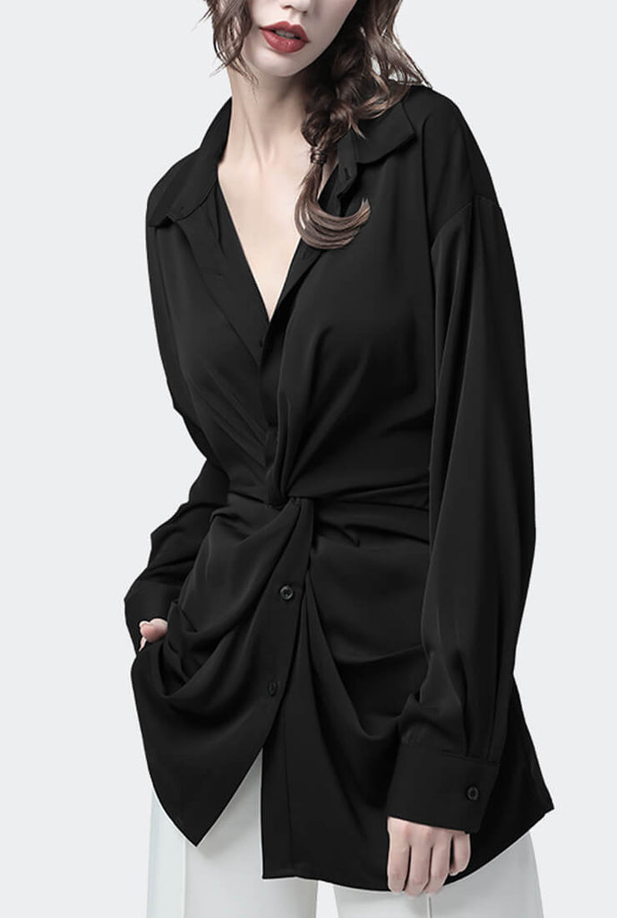 Black Chiffon Waist V-neck Slim Shirt