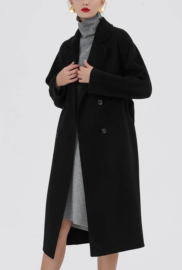 Classic Belted Double-faced Wool Long Coat