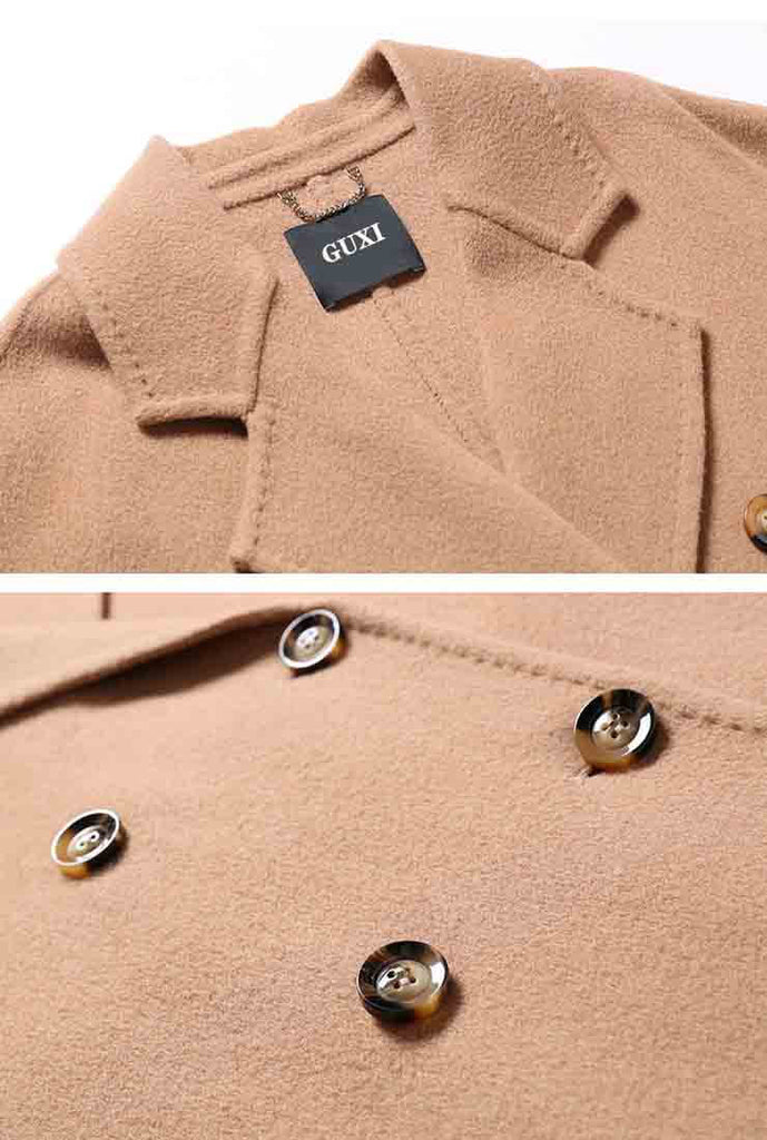 Classic Camel Belted Double-faced Wool Long Coat