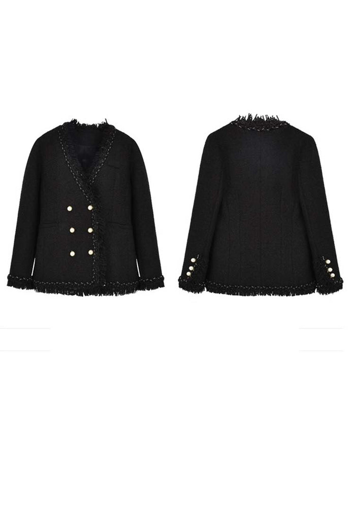 Classic Black fringed Trim Tweed Jacket