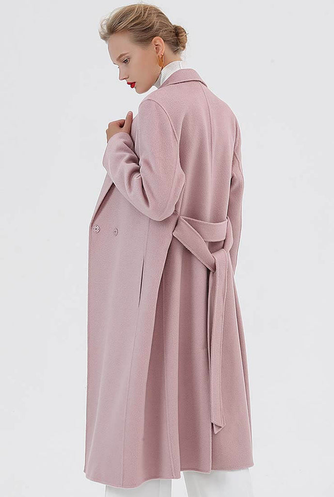 Classic Cashmere & Wool Belted Long Wrap Coat