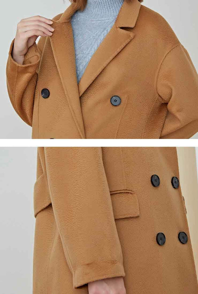 Classic Double-Breasted Reversible Cashmere Wool Long Coat