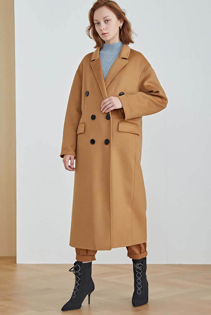 Classic Double-Breasted Double-faced Wool Long Coat