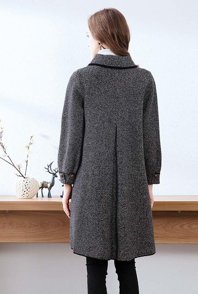 Classic Gray Mid-length Cashmere Coat