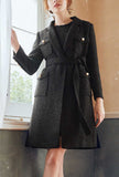 Classic Mid-length Tweed Black Coat