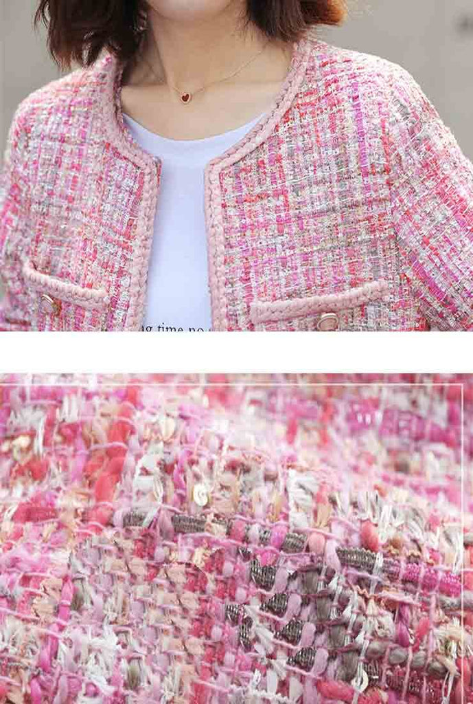 Classic Pink Tweed Short Jacket
