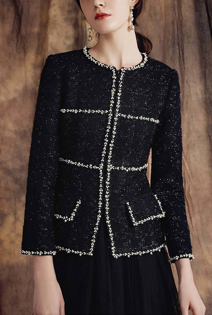 Classic Retro Black Tweed Jacket