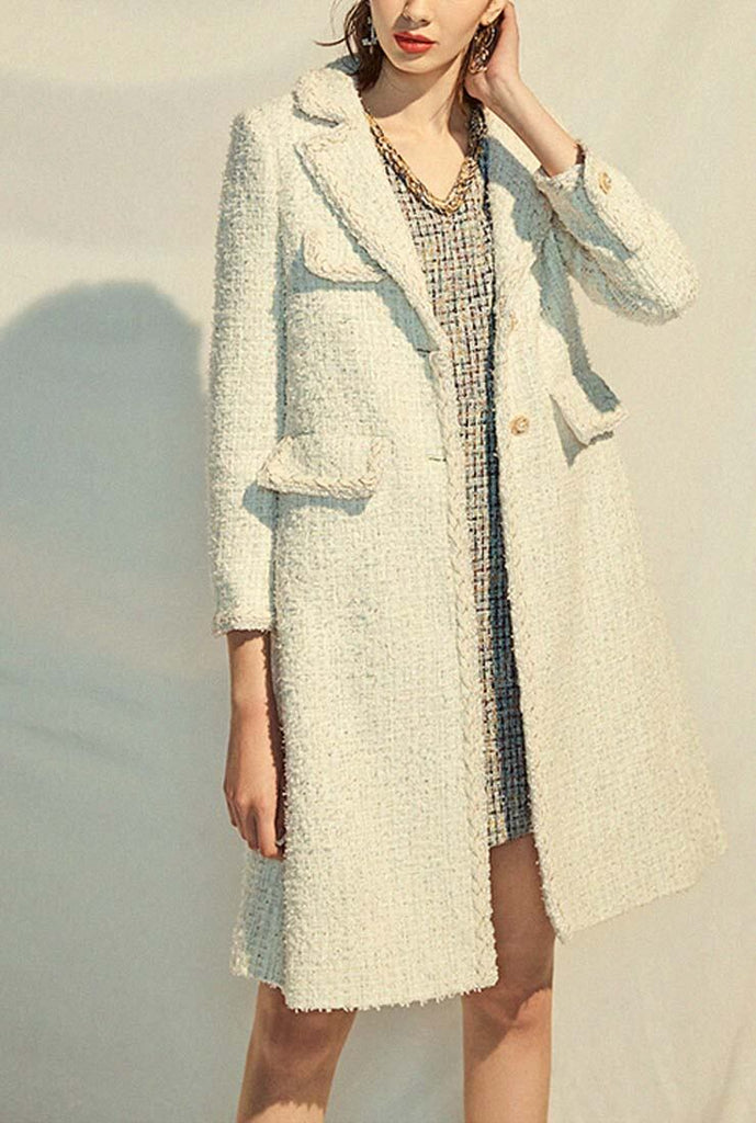 Classic White Tweed Long Trench Coat