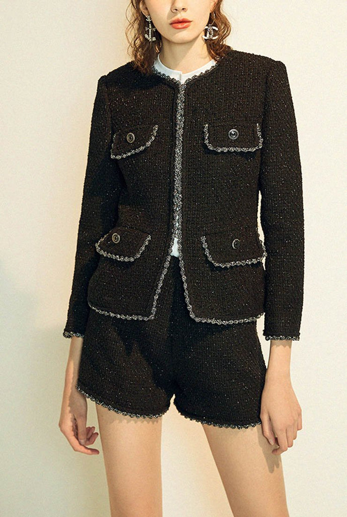 Classic Women Black Tweed Short Jacket