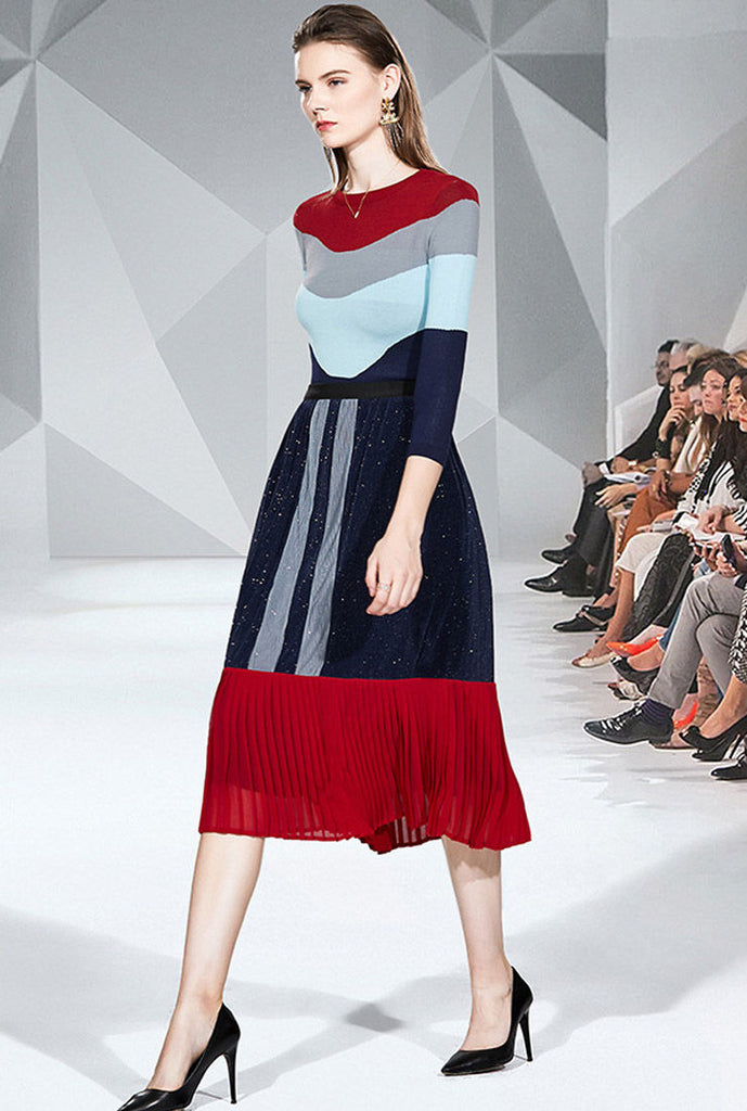 Colorblocked Knit Top Pullover + Midi Pleated Skirt Suits