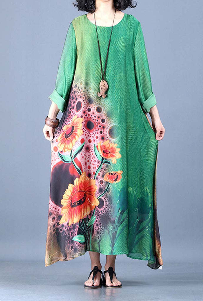 Silk Floral Print A-line Shift Maxi Dress