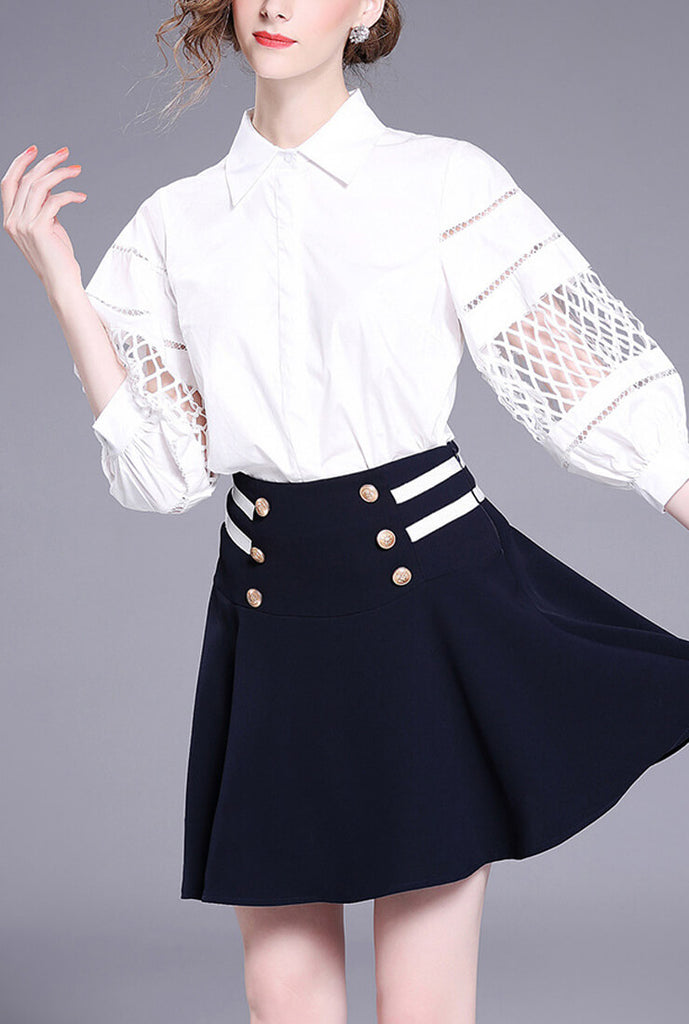 Cropped Sleeves Hollow Mesh White Shirt
