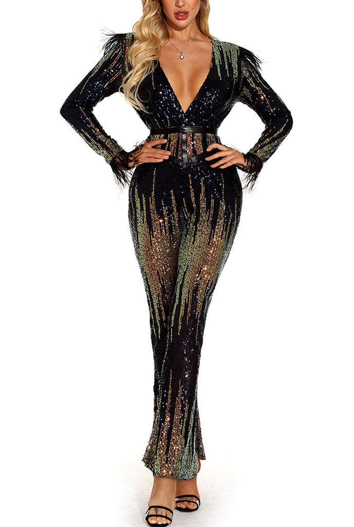 Deep V-neck Sequined Jumpsuit With Belt