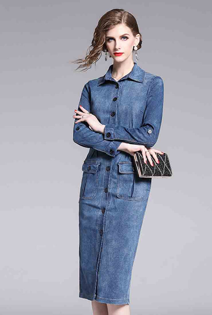 Denim Single-breasted Bodycon Midi Dress