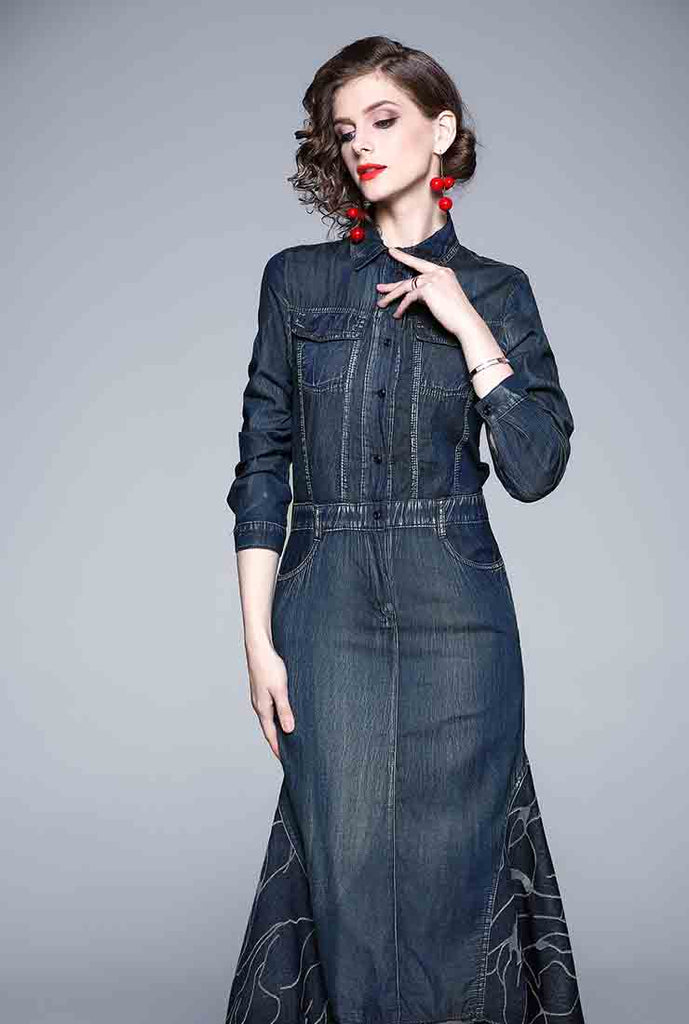 Denim Slim Fit Irregular Maxi Dress