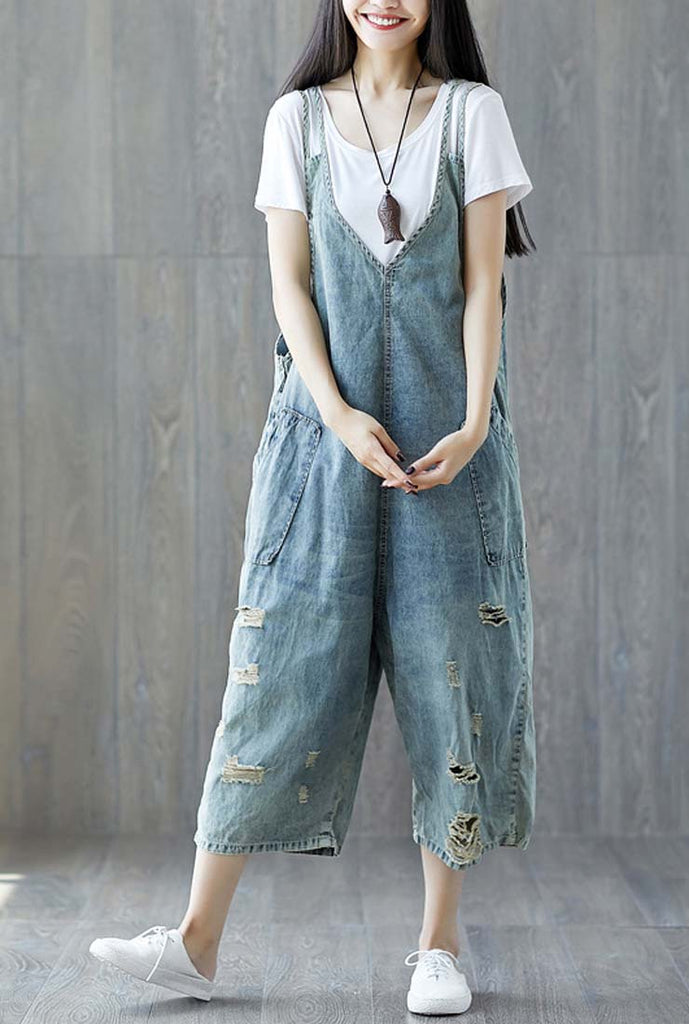 Distressed Loose-Fit Denim Cropped-Leg Overalls