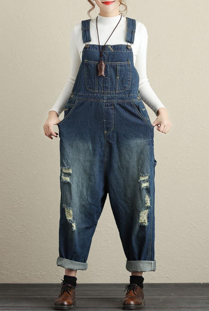 Distressed Loose-Fit Wide-Leg Denim Overalls