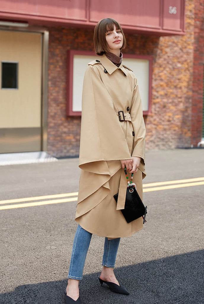 Double-breasted Cloak Khaki Loose Trench Coat