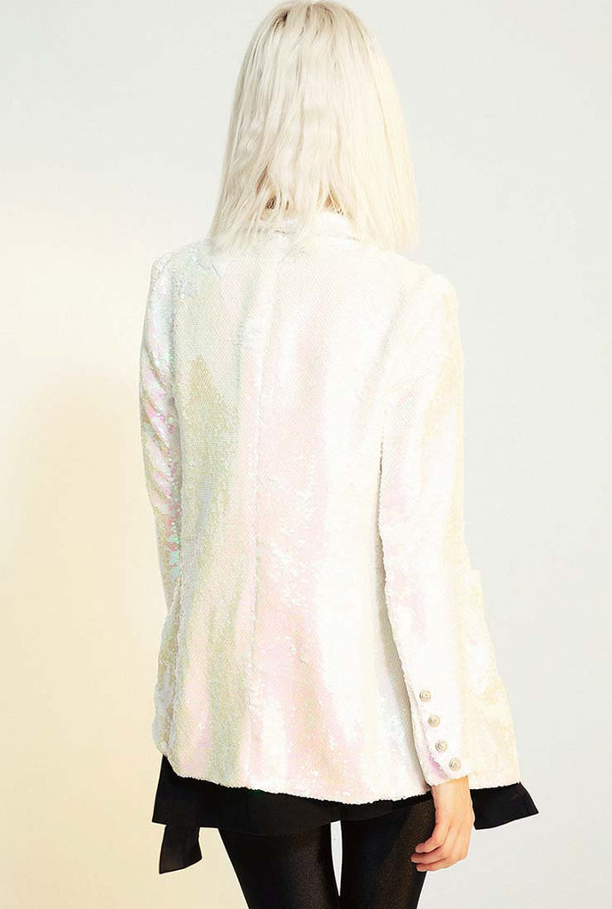 Double-breasted Pink Bling Sequined Blazer