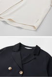 Double-breasted Shiffon Blazer Collar Shirt