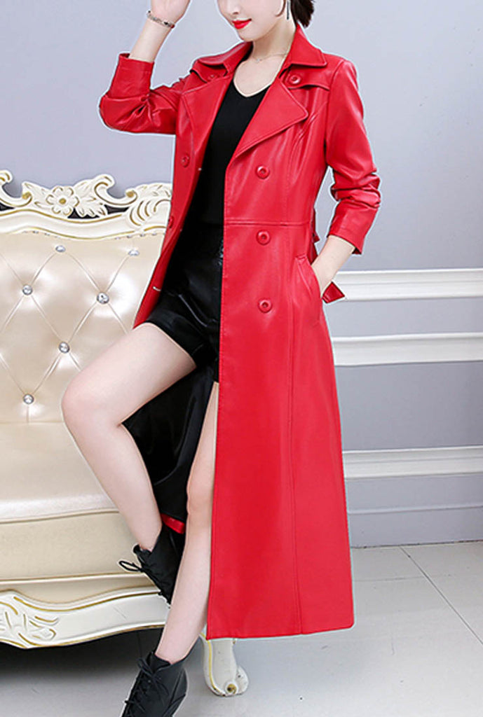 Double-breasted Slim Leather Trench Coat