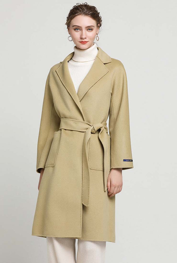 Double-faced Cashmere Slim Woolen Long Coat