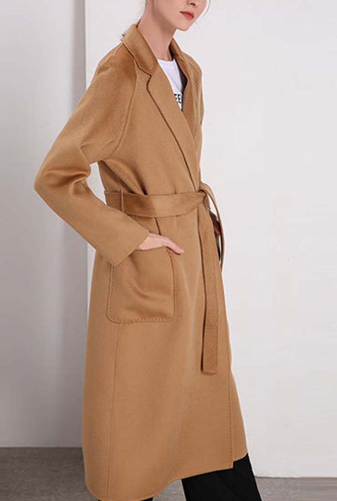 Double-faced Cashmere & Wool Long Wrap Coat
