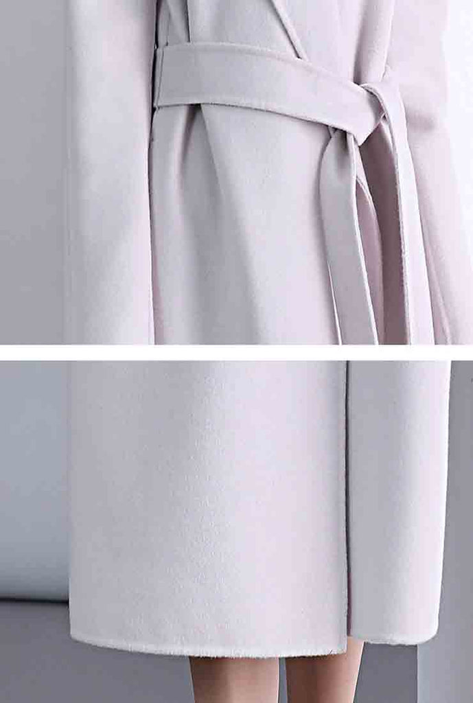Double-faced Slim Belted Cashmere Hooded Wool Coat