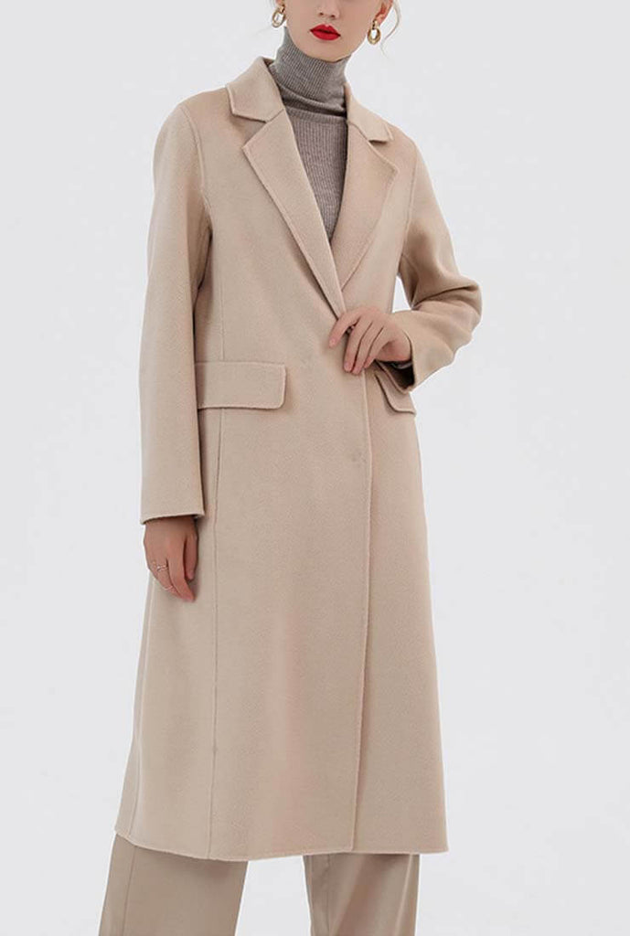 Double Faced Slim Cashmere & Wool Long Coat