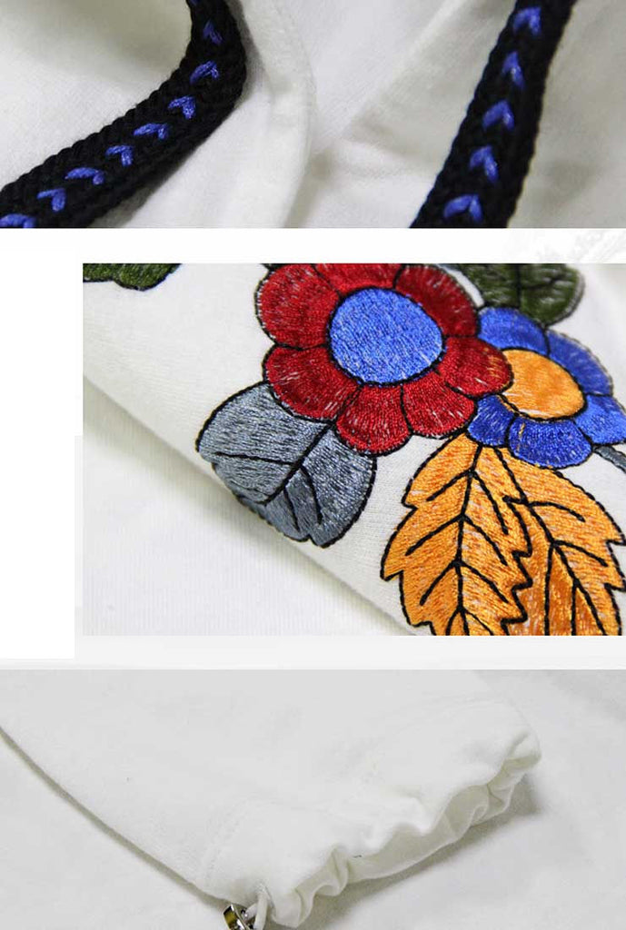 Drawstring Loose Shape Floral Embroidered Hoodie