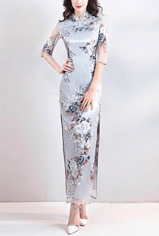 Elegant Lace Embroidered Long Cheongsam Dress