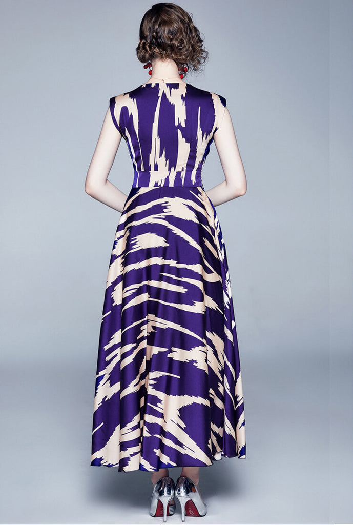 Elegant Purple Waist V-neck Long Dress